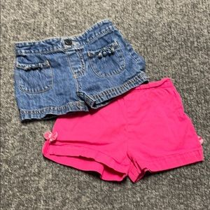 2 pair girl's shorts-pink with bows & jean-2T